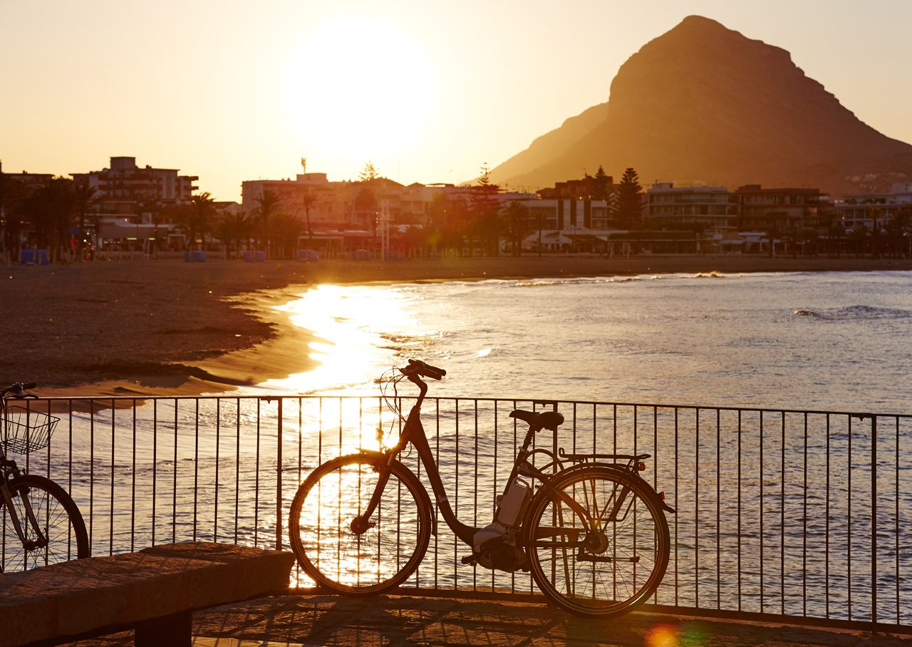 Javea Xabia sunset Arenal Beach with Montgo in Alicante Spain